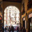 Stock Photo: Exit from LBoquerimarket to LRambla. Barcelona