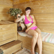 Girl  in the sauna — Stock Photo