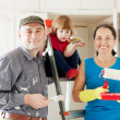 Family  makes makes repairs in  apartment — Stock Photo