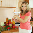 Woman making marinated vegetables — Stock Photo