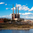 Stock Photo: Chimneys of Besos power thermal station
