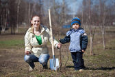 Woman with son replanting tree — Stock Photo