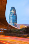 View of Barcelona, Spain. Torre agbar skyscraper in evening — Stock Photo