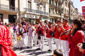 Castellers de Barcelona band plays traditional instruments — Stock Photo