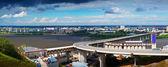 下诺夫哥罗德的视图。通过 oka 地铁桥 — 图库照片