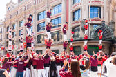 Castellers de Barcelona performing at avinguda Portal del Angel — Stock Photo