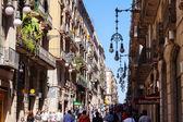 Old street in Gothic Quarter. Barcelona — Stock Photo