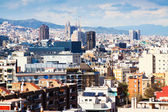 Barcelona from Montjuic in cloudy day — Stock Photo
