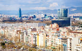 Top view of Barcelona in cloudy day — Stock Photo