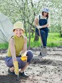 Kvinnor suggor frön på garden — Stockfoto