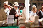 Books on street stalls in Sant Jordi — Stock Photo