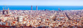 Panorama view of Barcelona in sunny day. Spain — Stock Photo