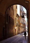 Ancient streets of Barrio Gotico. Barcelona — Stock Photo