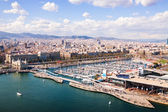 Bovenaanzicht van port vell in barcelona. catalonië, spanje — Stockfoto