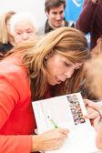 Alicia Sanchez-Camacho giving autograph — Stock Photo