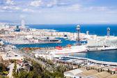 Port Vell of Barcelona from Montjuic — Stock Photo