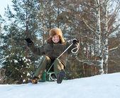 Man doing downhill on sleigh — Stock Photo
