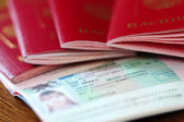 Passports witn Schengen visa — Stock Photo