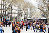 Crowd of at La Rambla, Barcelona. Spain — Stock Photo