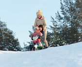 Women with child doing downhill on sleigh — Stock Photo