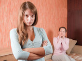 Mother and daughter having quarrel — Stock Photo