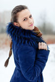 Outdoor winter portrait of woman — Stock Photo