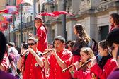 Castellers de Barcelona band — Stock Photo
