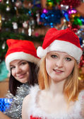Happy girls celebrating Christmas — Foto Stock