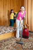 Women cleaning in home — Stock Photo