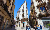 Old picturesque street of Barrio Gotico. Barcelona, — Stock Photo