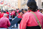 Castellers de Barcelona at Portal del Angel — Stock Photo