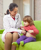 Doctor examining 2 years baby with phonendoscope — Stock Photo