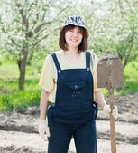 Female gardener with spade — Stock Photo