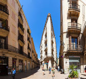 Old picturesque street of Barrio Gotico. Barcelona, Spain — Stock Photo