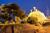Calvary at Park Guell in night — Stock Photo