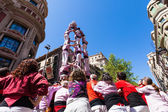 Castellers de Barcelona performing at avinguda Portal del Angel — Stock Photo