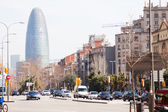 View of Barcelona, Spain. Torre agbar and Avinguda Diagonal — Stock Photo