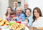 Joyful three generations family — Stock Photo