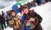 Girls celebrating Shrovetide at Russia — Stock Photo