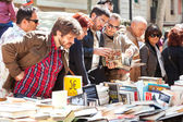 Books on stalls in Sant Jordi feast — Stock Photo