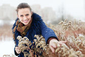 Outdoor winter portrait of hapy woman — Foto Stock
