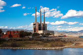 Chimneys of Besos power thermal station — Stock Photo