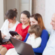 Multigeneration family of with portable computers — Stock Photo #25920117