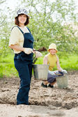 Gardeners fertilizes soil in garden — Stock Photo