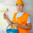 Stock Photo: House painters with paint roller