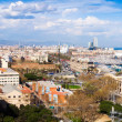 Panoramic view of seaside part of Barcelona from Montjuic — Stock Photo
