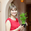 Girl with lucky bamboo plant — Stock Photo #27492591