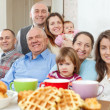 Portrait of large happy multigeneration family — Stock Photo