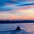 View of Neva river summer dawn — Stock Photo