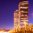 Night view of skyscraper in Port Olimpic — Stock Photo